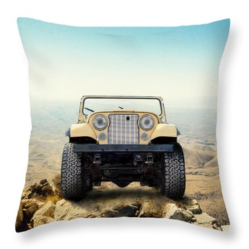 Jeep On Mountain Throw Pillow