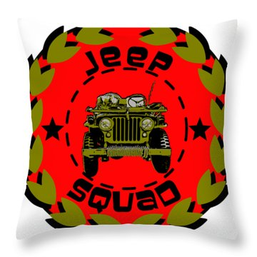 Jeep Squad Throw Pillow