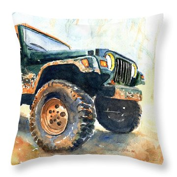 Jeep Wrangler Watercolor Throw Pillow