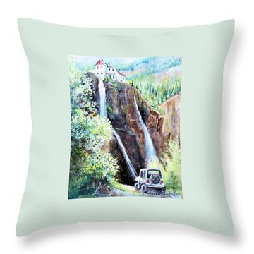 Throw Pillow featuring the painting Jeeping At Bridal Falls  by Linda Shackelford