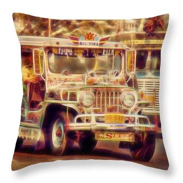 Jeepney Manila Throw Pillow