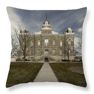 Jefferson County Courthouse In Fairbury Nebraska Rural Throw Pillow