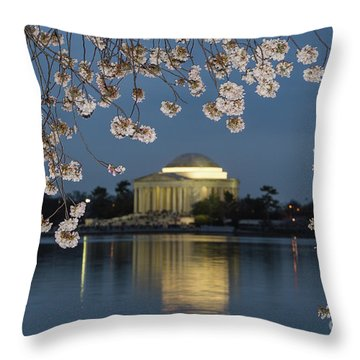 Jefferson Memorial And Cherry Blossoms I Throw Pillow