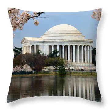 Jefferson Memorial And Reflection Throw Pillow