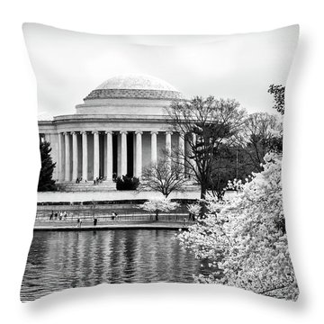 Jefferson Memorial Cherry Blosum Time Throw Pillow by Paul Seymour