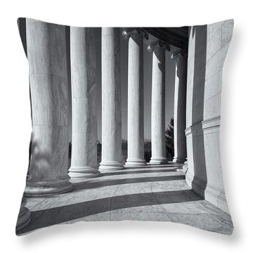 Jefferson Memorial Columns And Shadows Throw Pillow by Clarence Holmes