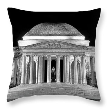 Jefferson Memorial Lonely Night Throw Pillow by Olivier Le Queinec