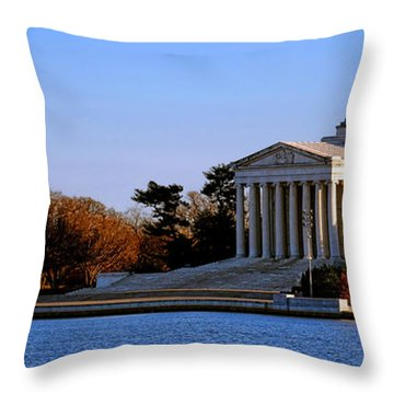 Jefferson Memorial Sunset Throw Pillow by Olivier Le Queinec