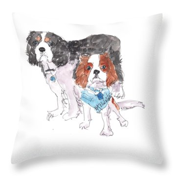 Jeffs Dogs Watercolor Kmcelwaine  Throw Pillow