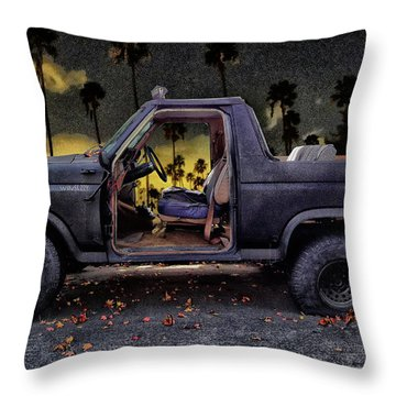 Jeff's Jeep And The Fallen Leaves Throw Pillow by Bob Winberry