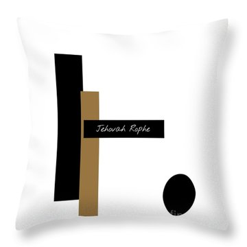 Throw Pillow featuring the mixed media Jehovah Rophe by Jessica Eli