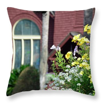 Throw Pillow featuring the photograph Jekyll Island Chapel And Flowers by Bruce Gourley