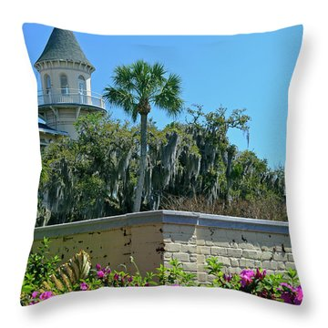 Throw Pillow featuring the photograph Jekyll Island Club Hotel And Azaleas by Bruce Gourley