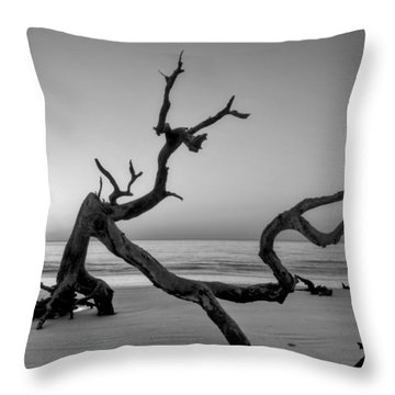Jekyll Island Driftwood In Black And White Throw Pillow