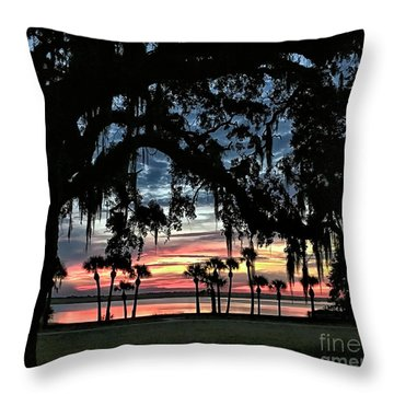 Jekyll Island Georgia Sunset Throw Pillow