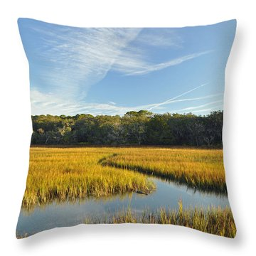 Jekyll Island Marsh High Tide And Sky Throw Pillow by Bruce Gourley