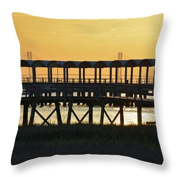 Jekyll Island Pier At Sunset Throw Pillow by Bruce Gourley