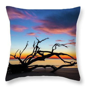 Jekyll Island Sunrise On Driftwood Beach Throw Pillow