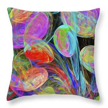 Throw Pillow featuring the digital art Jelly Beans And Balloons Abstract by Andee Design
