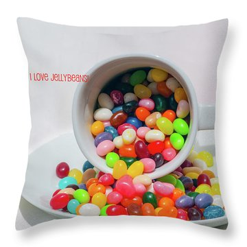 Jelly Beans Throw Pillow by Carolyn Dalessandro
