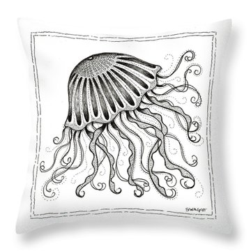 Jelly Fish Throw Pillow by Stephanie Troxell