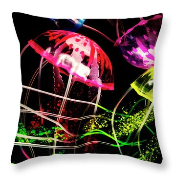Jelly Fish Trails Throw Pillow