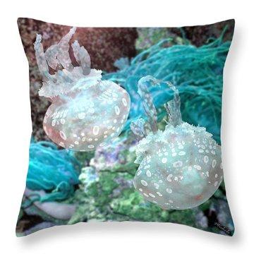 Jellyfish In Aquarium Throw Pillow
