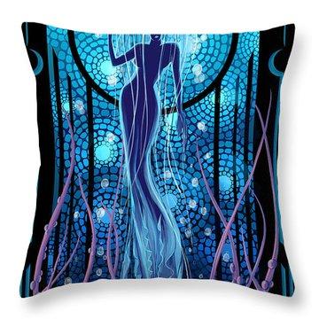 Jellyfish Mermaid Throw Pillow