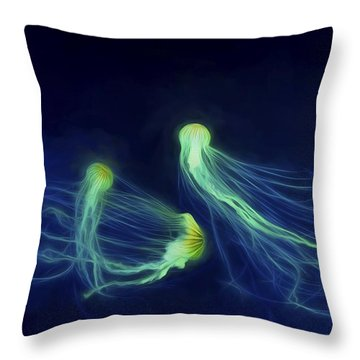 Throw Pillow featuring the photograph Jellyfish Tango by Steven Richardson