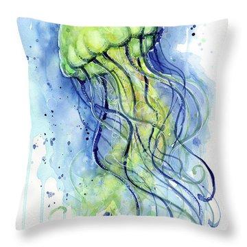 Jellyfish Watercolor Throw Pillow