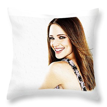 Jennifer Garner Throw Pillow by Iguanna Espinosa