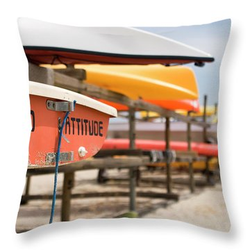 Jennings Beach Kayaks Throw Pillow