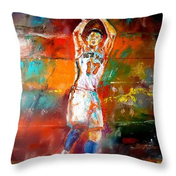 Jeremy Lin New York Knicks Throw Pillow by Leland Castro