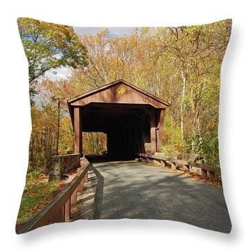 Jericho Covered Bridge Throw Pillow