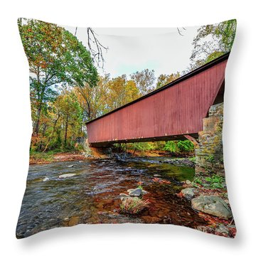 Jericho Covered Bridge In Maryland During Autumn Throw Pillow