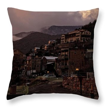Throw Pillow featuring the photograph Jerome On The Edge Of Sunrise by Ron Chilston