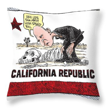 Jerry Brown - California Drought And High Speed Rail Throw Pillow