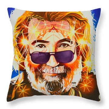 Throw Pillow featuring the painting Jerry Garcia-dark Star by Joshua Morton