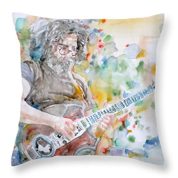 Jerry Garcia - Watercolor Portrait.15 Throw Pillow