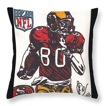 Throw Pillow featuring the drawing Jerry Rice by Jeremiah Colley