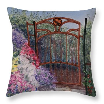 Throw Pillow featuring the painting Jerrys Garden by Stanza Widen