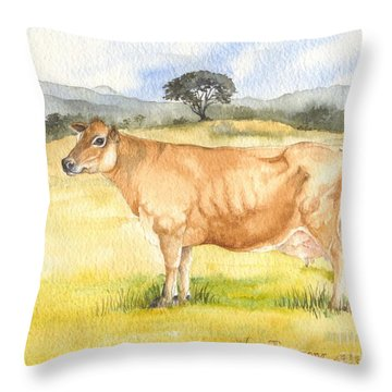 Throw Pillow featuring the painting Jersey Cow by Sandra Phryce-Jones