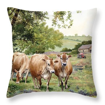 Jersey Cows Throw Pillow by Anthony Forster