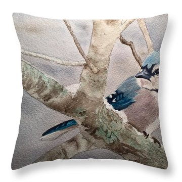 Cold Winter's Jay Throw Pillow