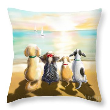 Jersey Shore Sunrise  Throw Pillow by Catia Cho