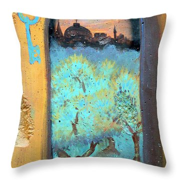 Jerusalem Key Throw Pillow by Munir Alawi
