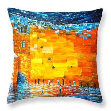 Throw Pillow featuring the painting Jerusalem Wailing Wall Original Acrylic Palette Knife Painting by Georgeta Blanaru