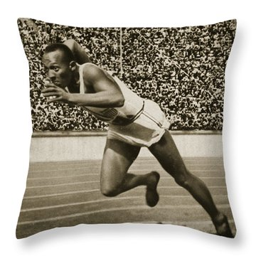 Jesse Owens Throw Pillow