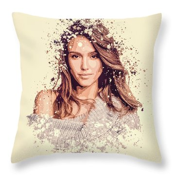 Jessica Alba Splatter Painting Throw Pillow