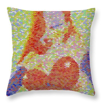 Throw Pillow featuring the mixed media Jessica Rabbit Pez Mosaic by Paul Van Scott
